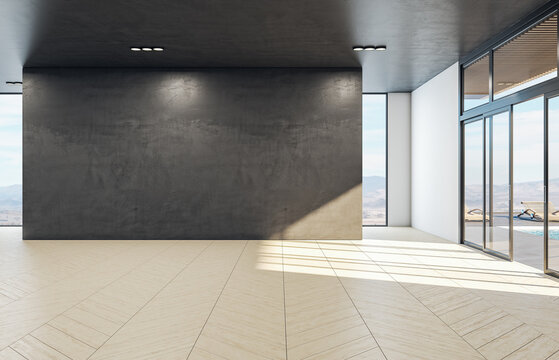 Living room with blank wall and landscape view.