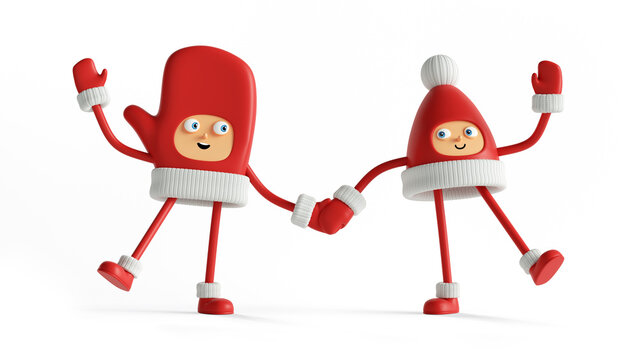 3d render, funny christmas characters holding hands. Winter toys. Red mitten and cap with pompom, with hands and legs standing together. Festive clip art isolated on white background