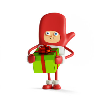 3d render. Funny winter seasonal mascot holds gift box. Red mitten with face hands and legs. Cute Santa helper. Christmas toy clip art isolated on white background