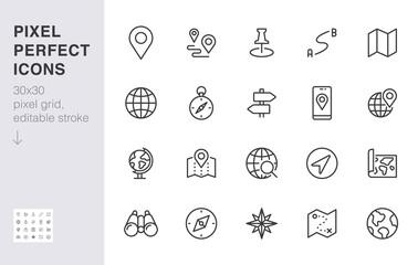 Fototapeta Location line icon set. Compass, travel, globe, map, geography, earth, distance, direction minimal vector illustration. Simple outline sign navigation app ui 30x30 Pixel Perfect Editable Stroke obraz