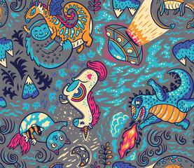 Myth or not cartoon seamless pattern