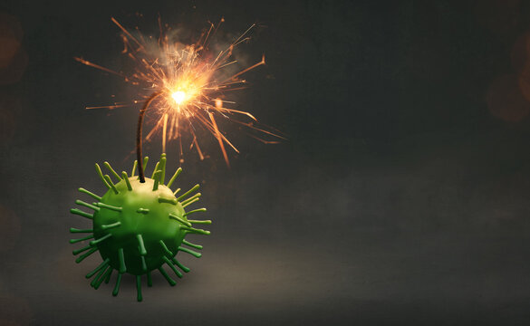 Virus as a bomb with a fuse - Danger concept