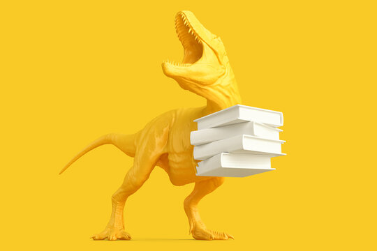 T-rex with Pile of books. 3D rendering
