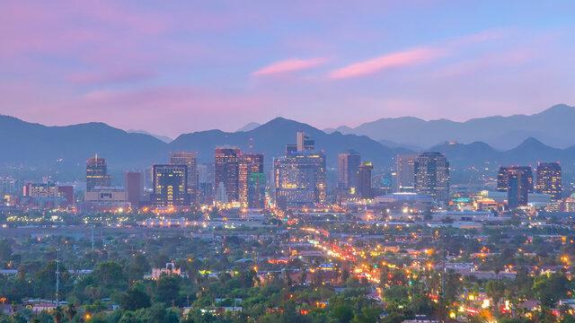 Phoenix city downtown skyline cityscape of Arizona in USA