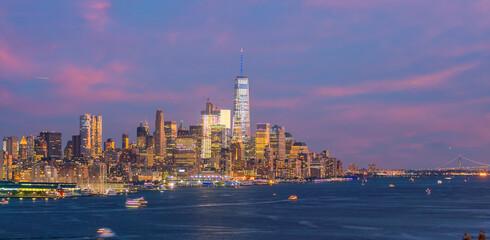 Wall Mural - Cityscape of  Manhattan skyline at sunset, New York City