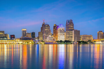 Wall Mural - Cityscape of Detroit skyline in Michigan, USA at sunset