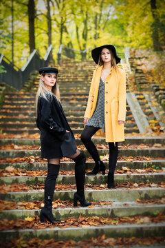 sesja fotograficzna w parku jesień dwie piękne białe kobiety dziewczyny w kapeluszach