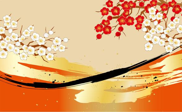 梅のある和風背景柄