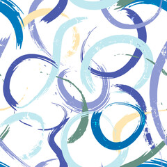 seamless abstract background pattern, with semicircles/circles, paint strokes and splashes