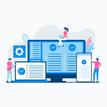 Cross platform software illustration concept. Illustration for websites, landing pages, mobile applications, posters and banners.
