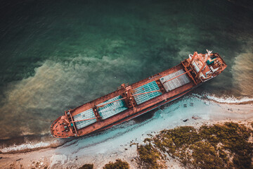 abandoned cargo ship on the black sea coast taken during the day from a quadrocopter