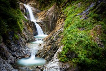 waterfalls in a swiss gorge