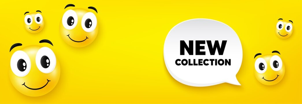 New collection. Smile face with speech bubble. New fashion arrival sign. Advertising offer symbol. Smile character. New collection speech bubble icon. Yellow face background. Vector