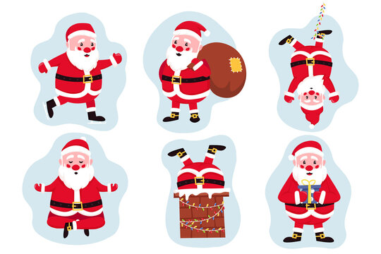 Set of funny happy Santa Claus character with gift, bag with presents, hanging upside down on garland lights, ice skating and more. Perfect for Christmas greeting cards. Vector cartoon illustration.