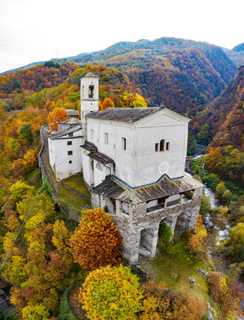 Valtellina, Italy, church of San Vittore in the village of Caiolo