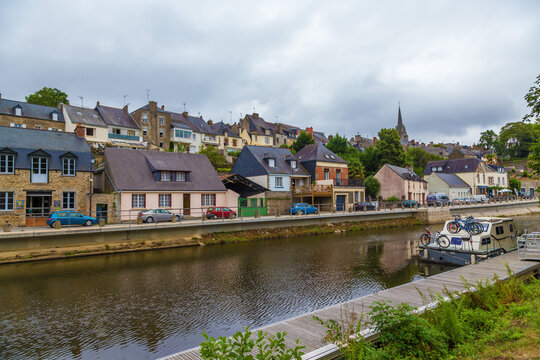 Josselin, France. Picturesque embankments of the L'Oust river