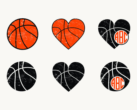 Basketball Printable Vector Sign Symbol Icon Bundle, Isolated vector illustration,  Distressed Basketball