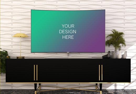 Tv Screen Mockup with Elegant Interior