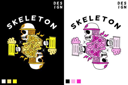 Skeleton in hype style holding beer. illustration for poster, logo, sticker, or apparel merchandise.