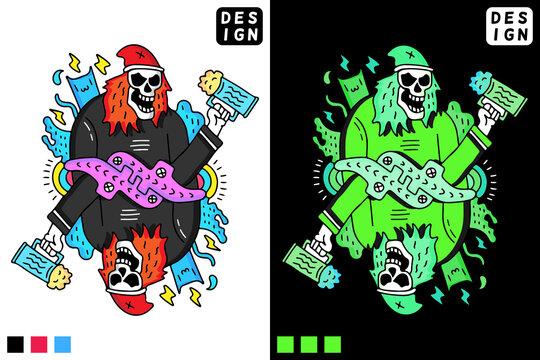 Skull holding glass of beer in hype style. illustration for t shirt, poster, logo, sticker, or apparel merchandise.