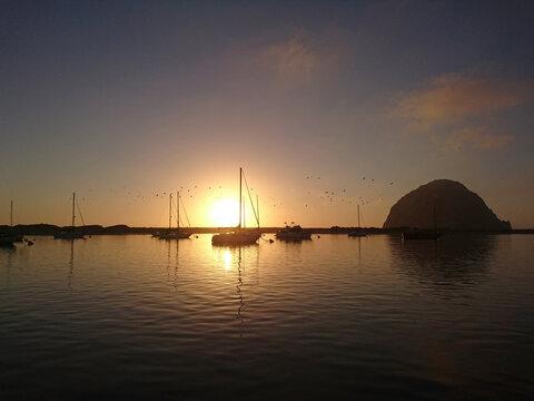 sunset at Morro Bay, California, USA