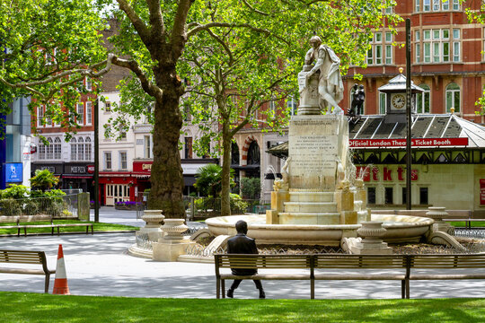 London, UK, 2020: Mr Bean alone on deserted Leicester Square