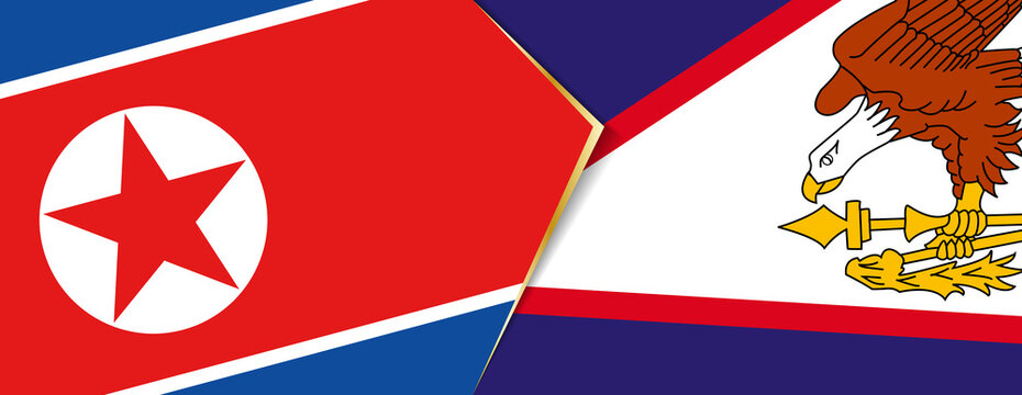 North Korea and American Samoa flags, two vector flags.