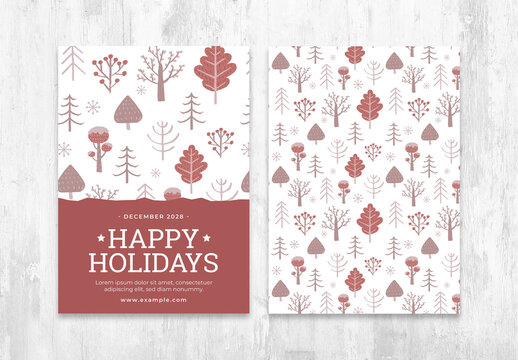 Rustic Winter Flyer Layout with Auburn Trees