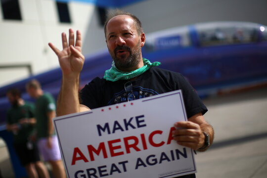 A supporter attends a rally from Donald Trump Jr for U.S. President Donald Trump ahead of Election Day in Scottsdale, Arizona