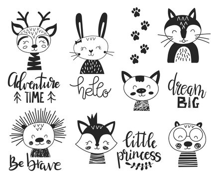 Set of cute handdrawn monochrome animals in scandinavian style with inspiration lettering. Vector illustration in doodle style. Deer, hedgehog, fox, wolf, bunny, bear for posters, stickers and cards