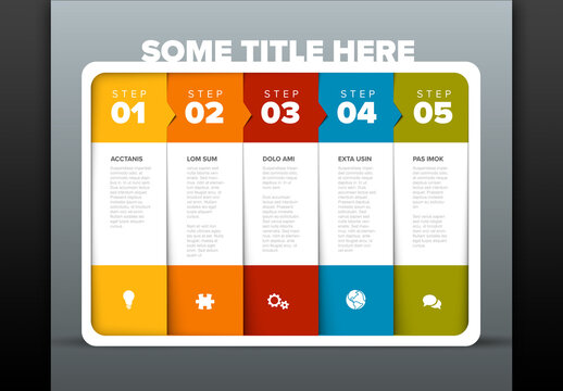 Five Simple Colorful Steps Process Infographic Layout