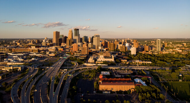 Drone flight over Minneapolis, Minnesota USA with a nice shot of the downtown area