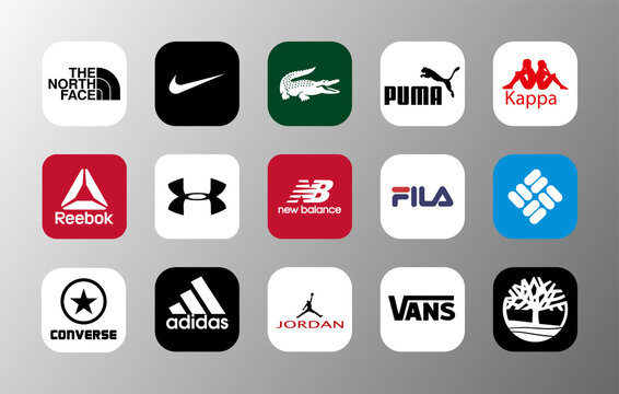 The most popular brands of sportswear and sneakers and other shoes, presented in 15 logos - Nike, reebok, adidas, under armour, puma, lacoste, new balance, fila, converse, vans, jordan and other.