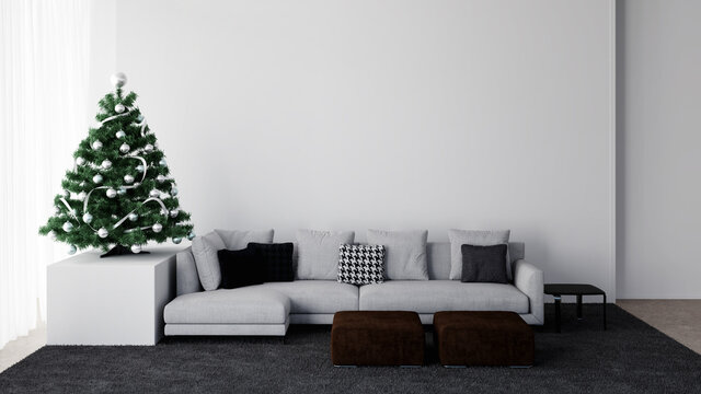 White living room interior with decorated christmas tree, 3D illustration mockup background concept