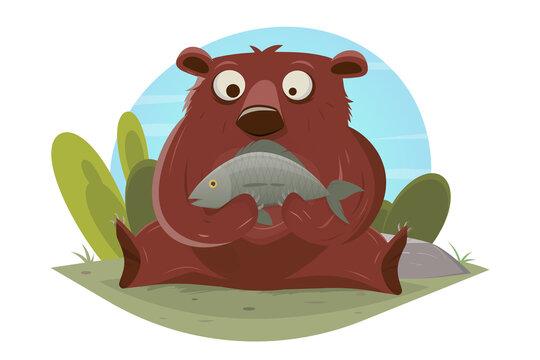 funny cartoon vector illustration of a bear eating a fish