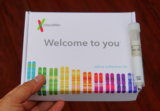 Wilmington, Delaware, U.S.A - March 10, 2019 - Saliva collection kits by 23andMe for ancestry testing and family tree discovery