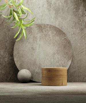 Pedestal for natural cosmetic product presentation. Stone and wood cylinders with plant leaves. 3d illustration.