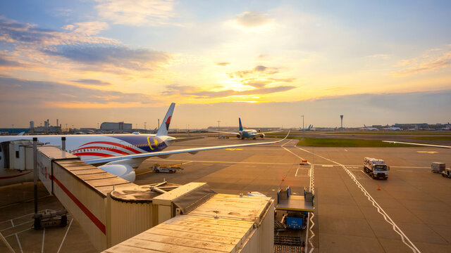London, UK - May 23 2018: Jet flights dock in Heathrow Airport,  the second busiest airport in the world (after Dubai International Airport) by international passenger traffic