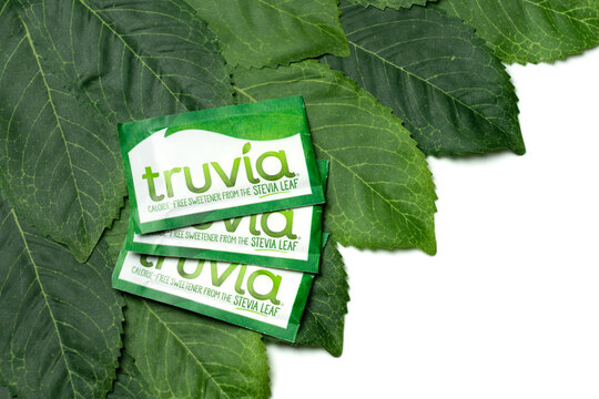 Worcester, PA - July 15, 2020: Truvia calorie free sweetener is made from stevia leaf extract and is certified Non-GMO. It contains no sugar or calories and is considered Diabetes-Friendly.