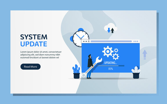Landing page template of system update concept. Man character uses wrench to upgrade software vector illustration.