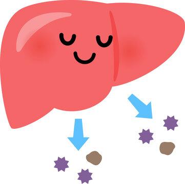 毒素を排出する肝臓のキャラクター、デトックス