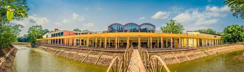 wide angle view of a building