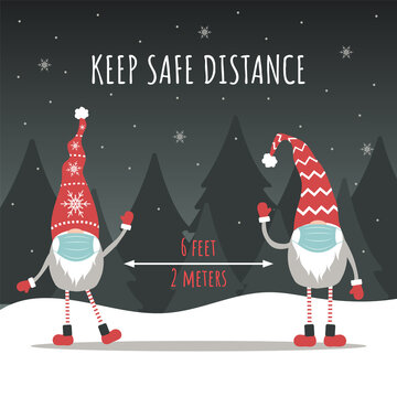 Keep social distancing for Christmas. Cute gnomes wearing a protective face masks from coronavirus. Merry and safe. Vector illustration in cartoon style. Design for poster, banner, flyer.