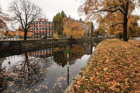 Herbst in Berlin; Landwehrkanal am Schöneberger Ufer (Blick zum Reichpietschufer)