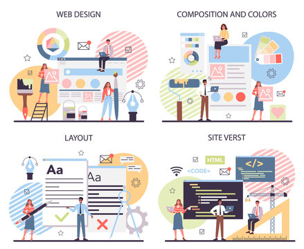 Web design concept set. Presenting content on web pages.