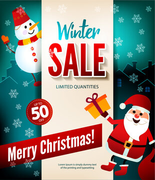 Winter sale up to 50 percent, Christmas poster. Snowman and snata Claus wish merry Christmas and give gifts. Beige paper with an announcement on the background of the night city.