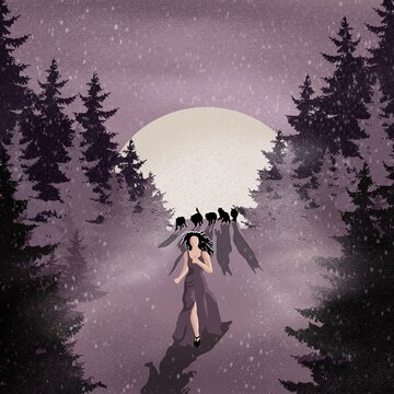 A moonlit night and a girl running away from wolves.