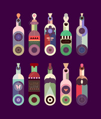 Colored isolated on a dark background decorative wine bottles collection graphic illustration. Flat design of various bottles.