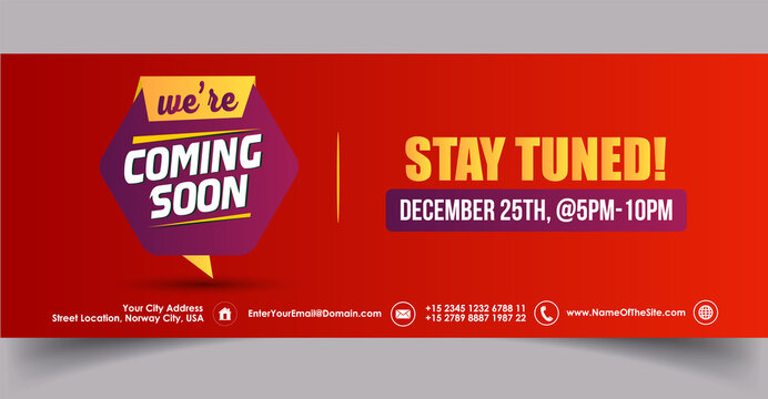 We are coming soon stay tuned facebook cover banner in red background. We are coming soon stay tuned with date and time facebook and twitter banner template. Announcement cover banner for social media