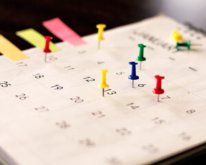 Calendar and scheduled appointments with pins.